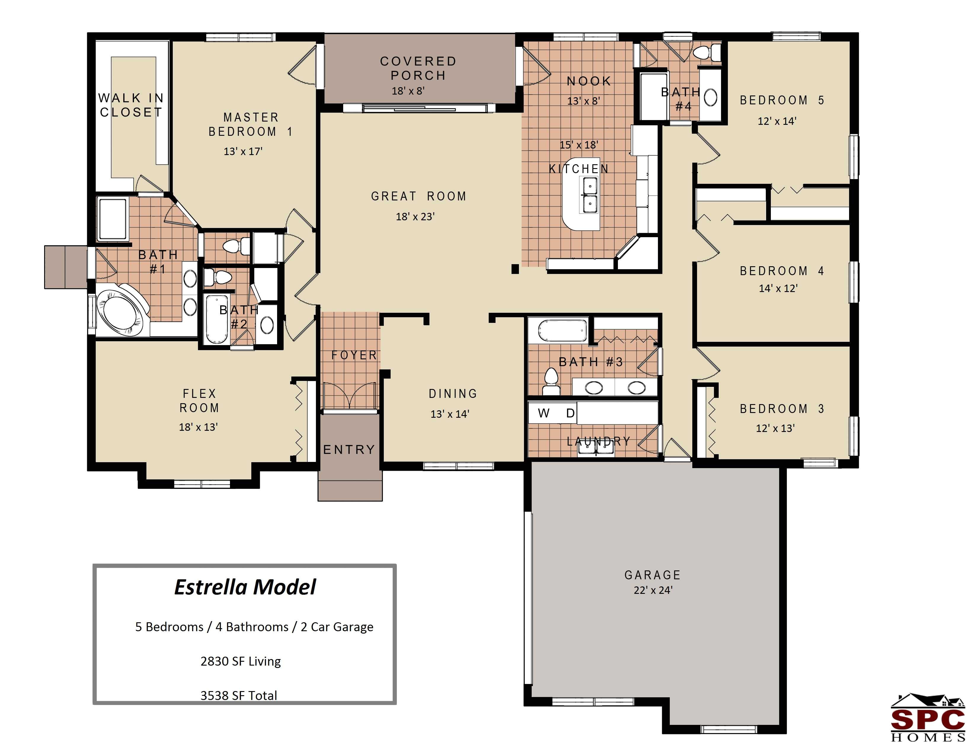 4 bedroom single story floor plans images with beautiful house 2018