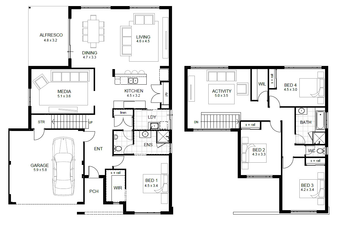two story house plans with terrace beautiful house design simple 2 storey homes floor plans