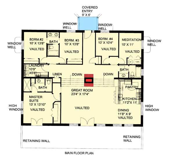 attractive berm house plan 35458gh
