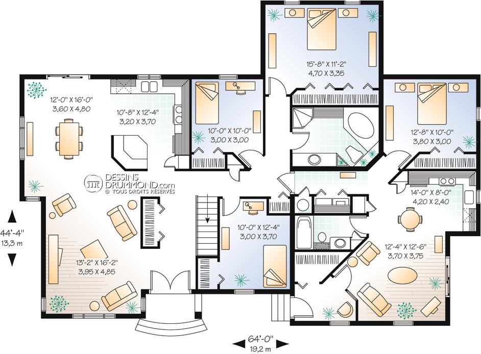 house plan maison plain pied bungalow w2278