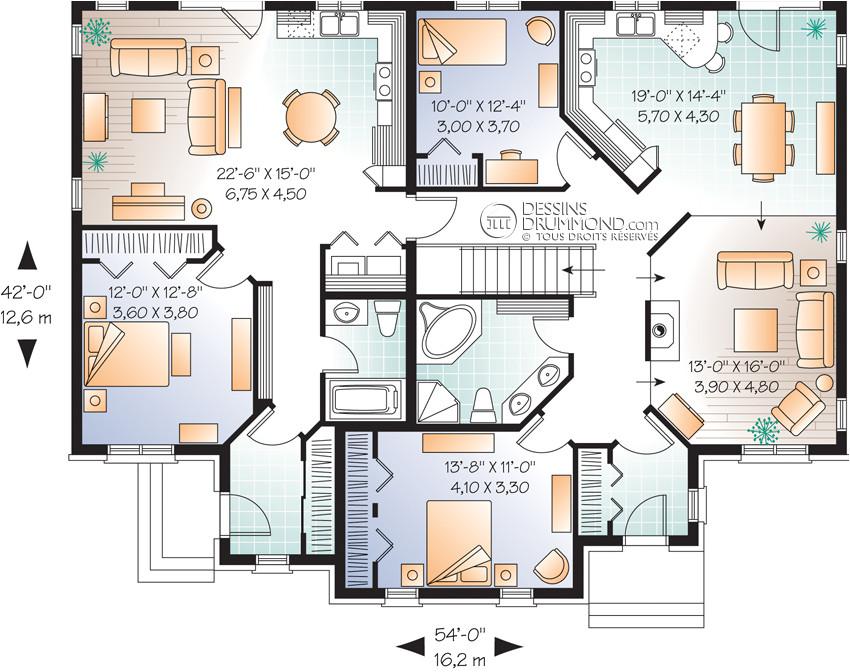 house plan maison duplex bi generation w3040