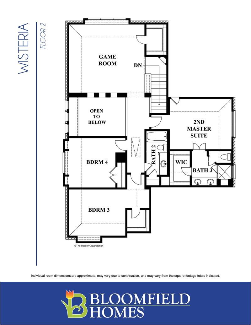 wisteria floor plan 2nd floor by bloomfield homes