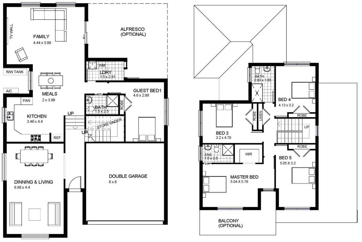 two storey house design with floor plan