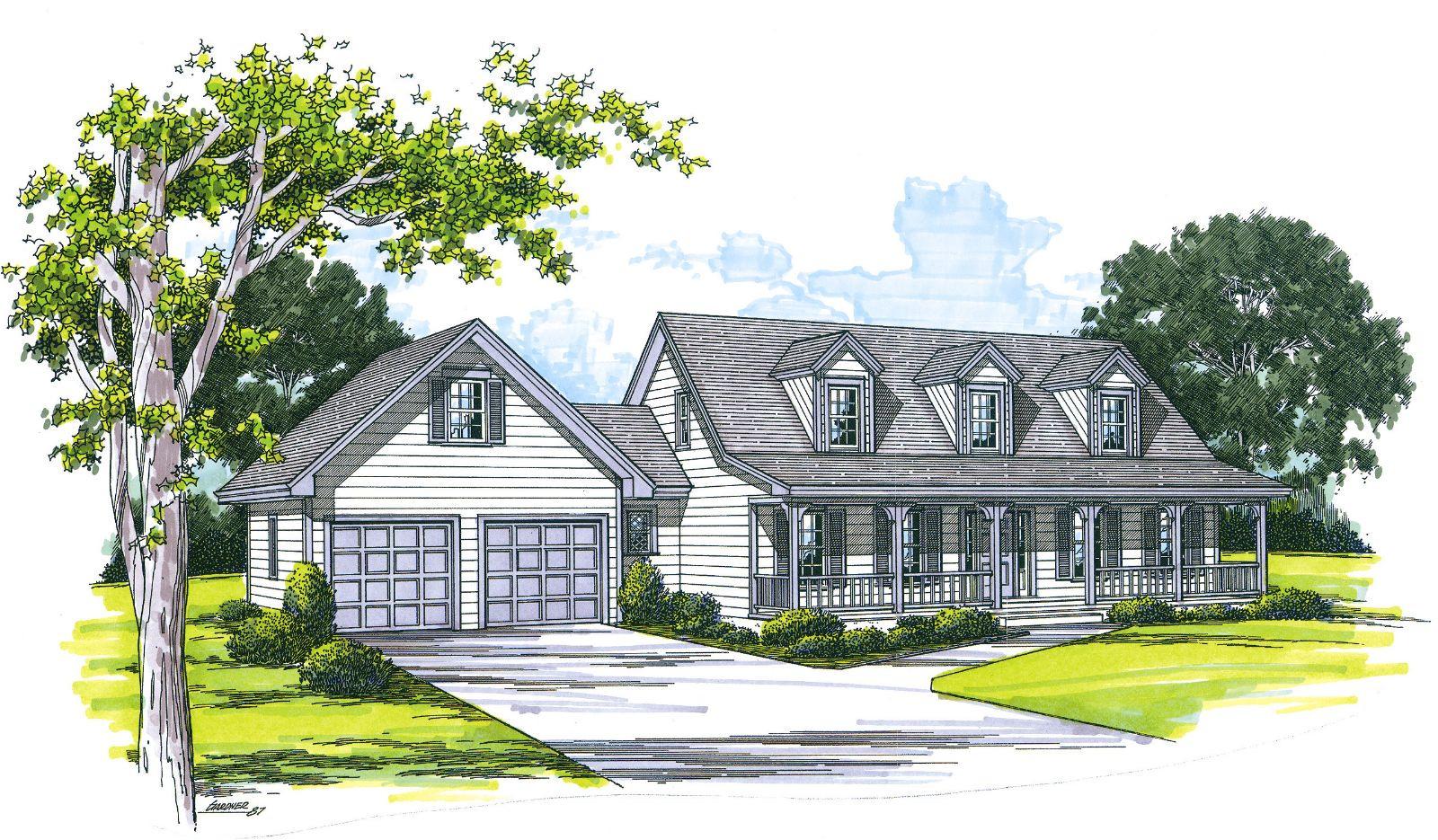 cape cod house plans attached garage