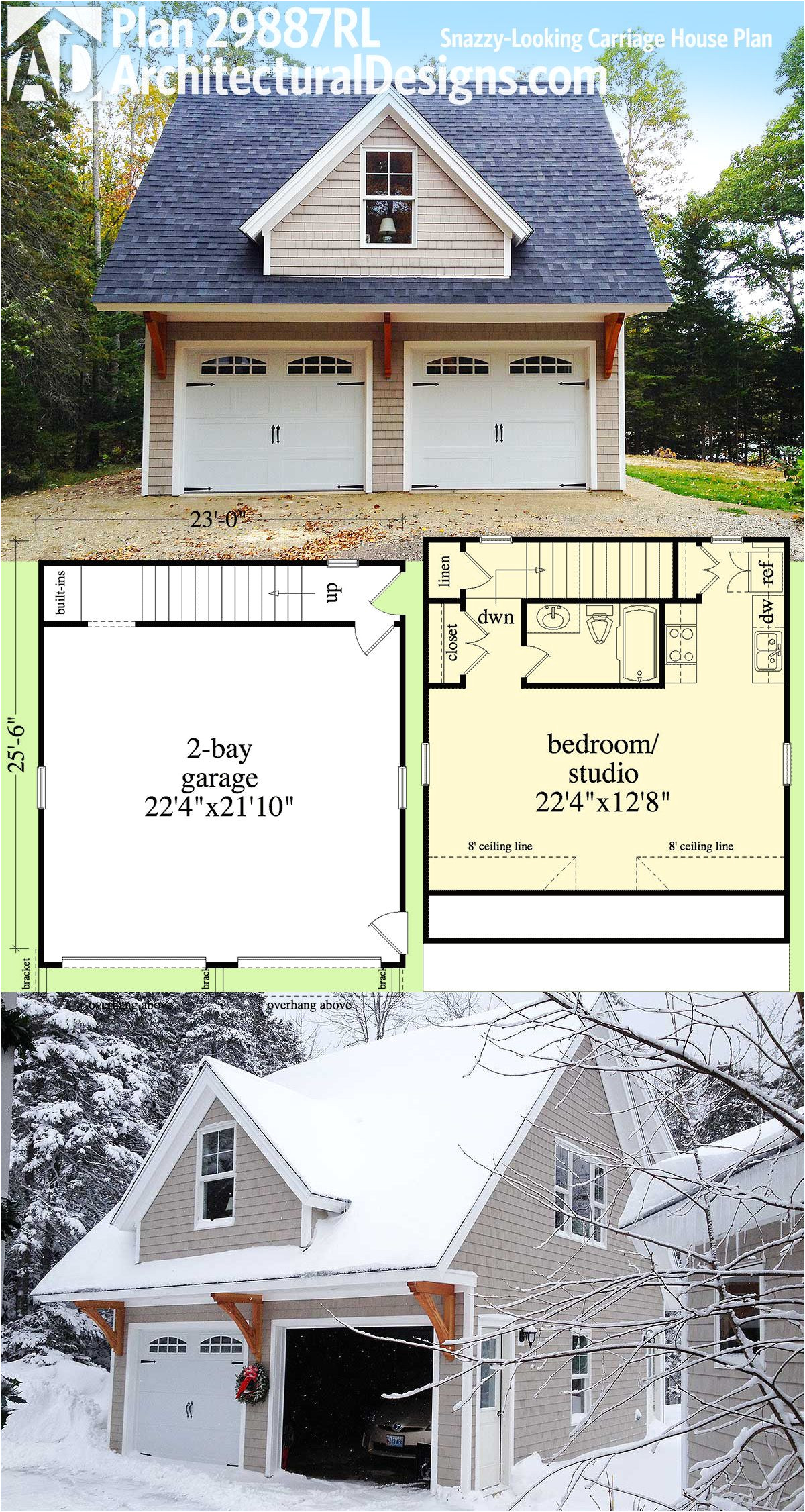 Carriage House Plans Cost to Build Plan 29887rl Snazzy Looking Carriage House Plan