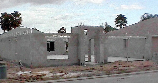 concrete block or wood frame home