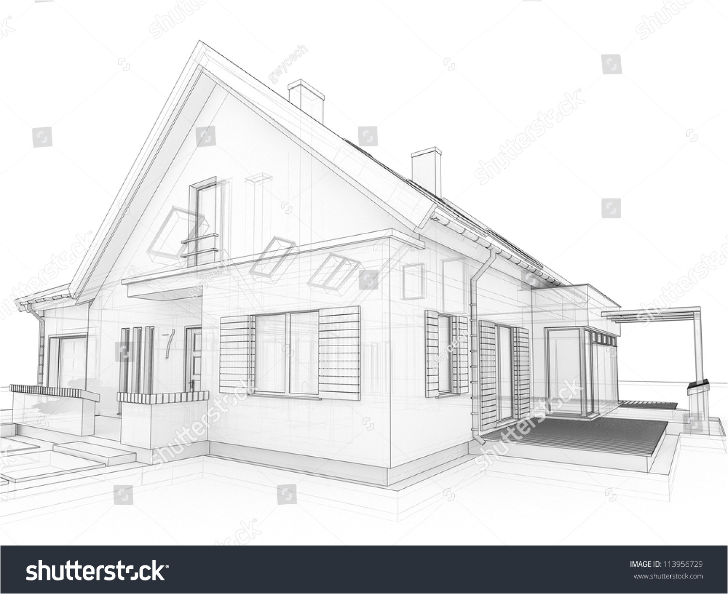 stock photo computer generated transparent house design visualization in drawing style
