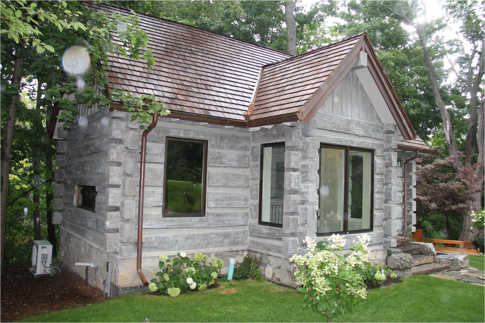 toronto canada concrete log cabin