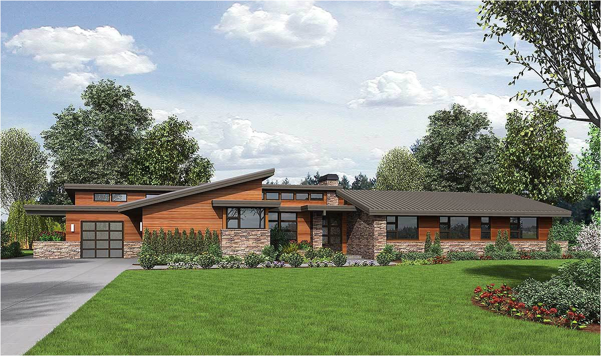 stunning contemporary ranch home plan 69510am