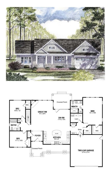 great cottage country craftsman ranch southern traditional house plan craftsman house plans under 2000 square feet
