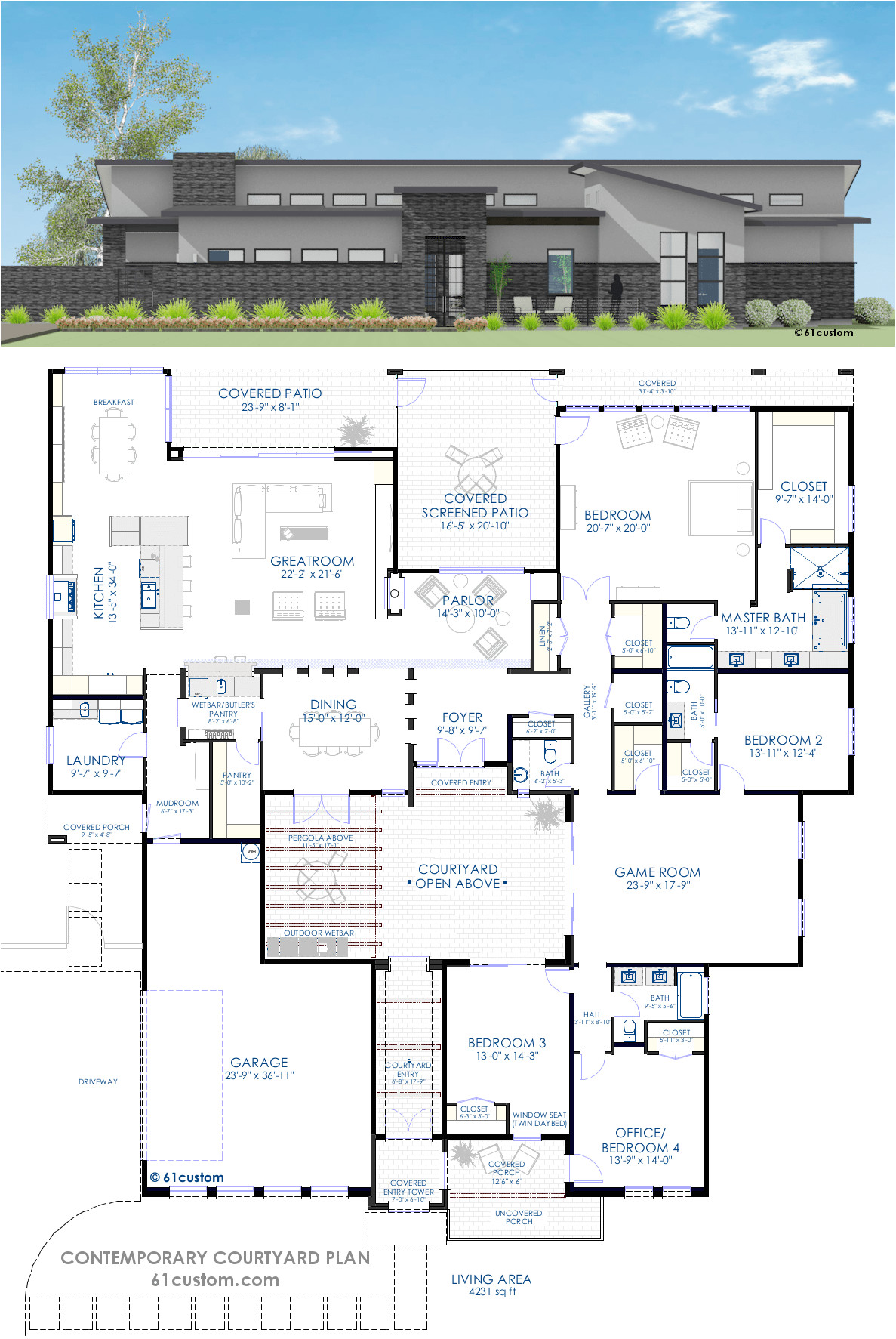Courtyard Homes Plans Contemporary Courtyard House Plan 61custom Modern
