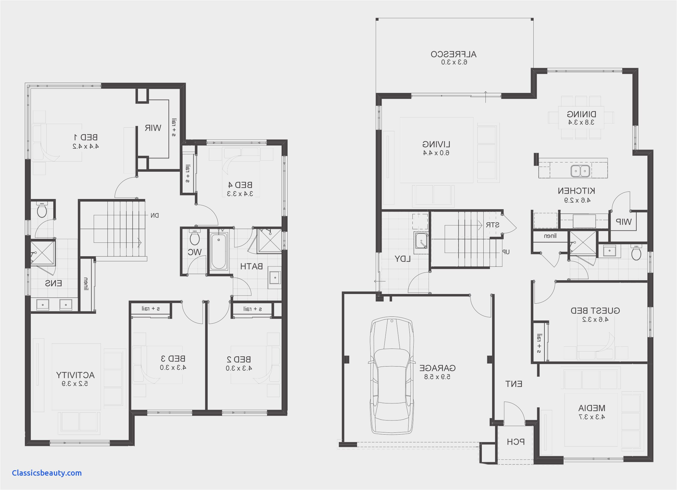 simple house plan with 5 bedrooms