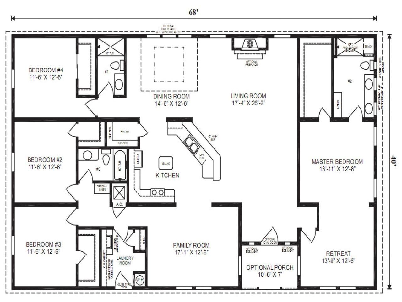 double wide trailer floor plan