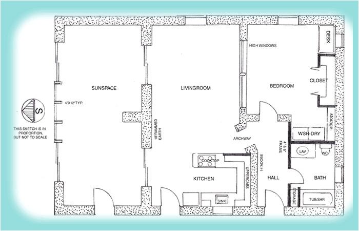 rammed earth studio house plan 1342