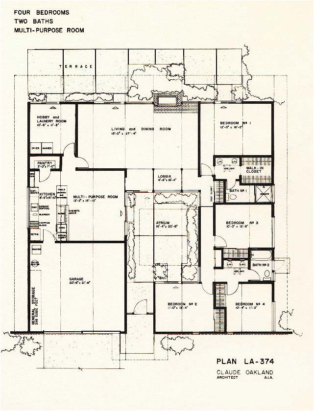 eichler homes typical floor plan and