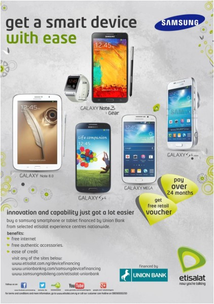 samsung mobile etisalat union bank launch new flexible payment plans for etisalat samsung devices get a smart device with ease
