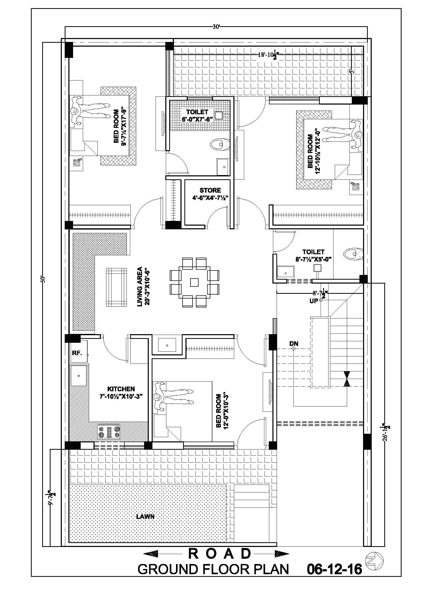 30x50 house map floor plan