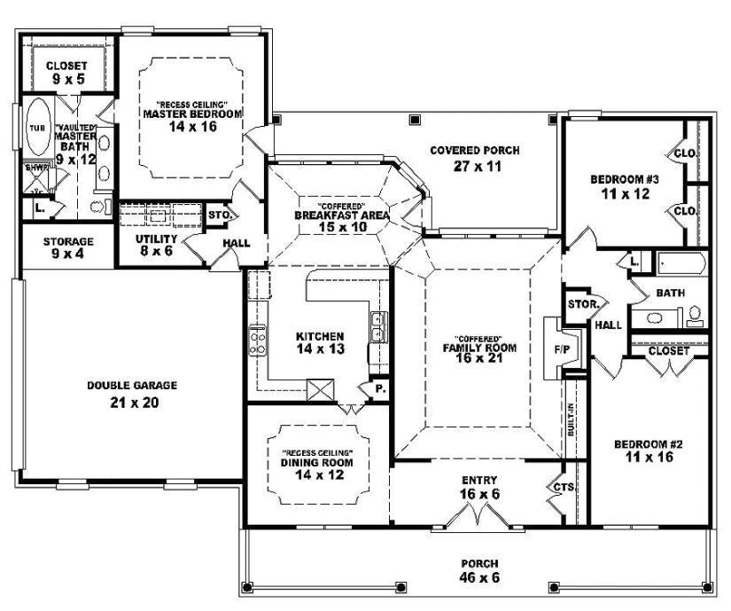single story open floor plan homes