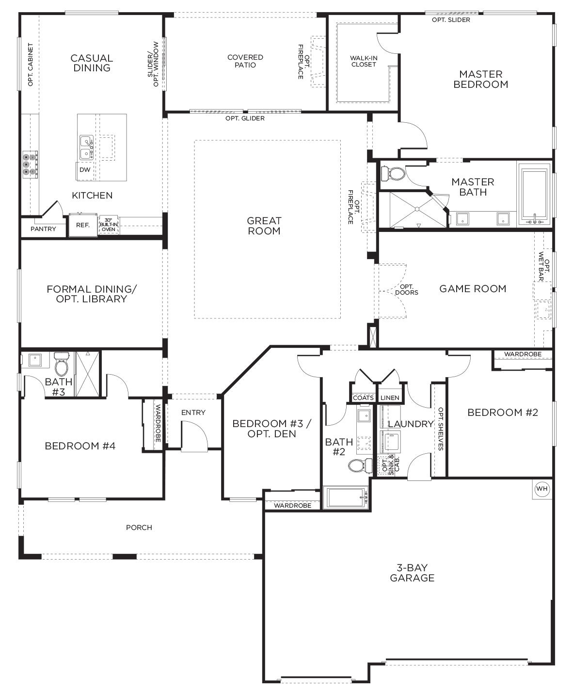 Floor Plans for 1 Story Homes Love This Layout with Extra Rooms Single Story Floor
