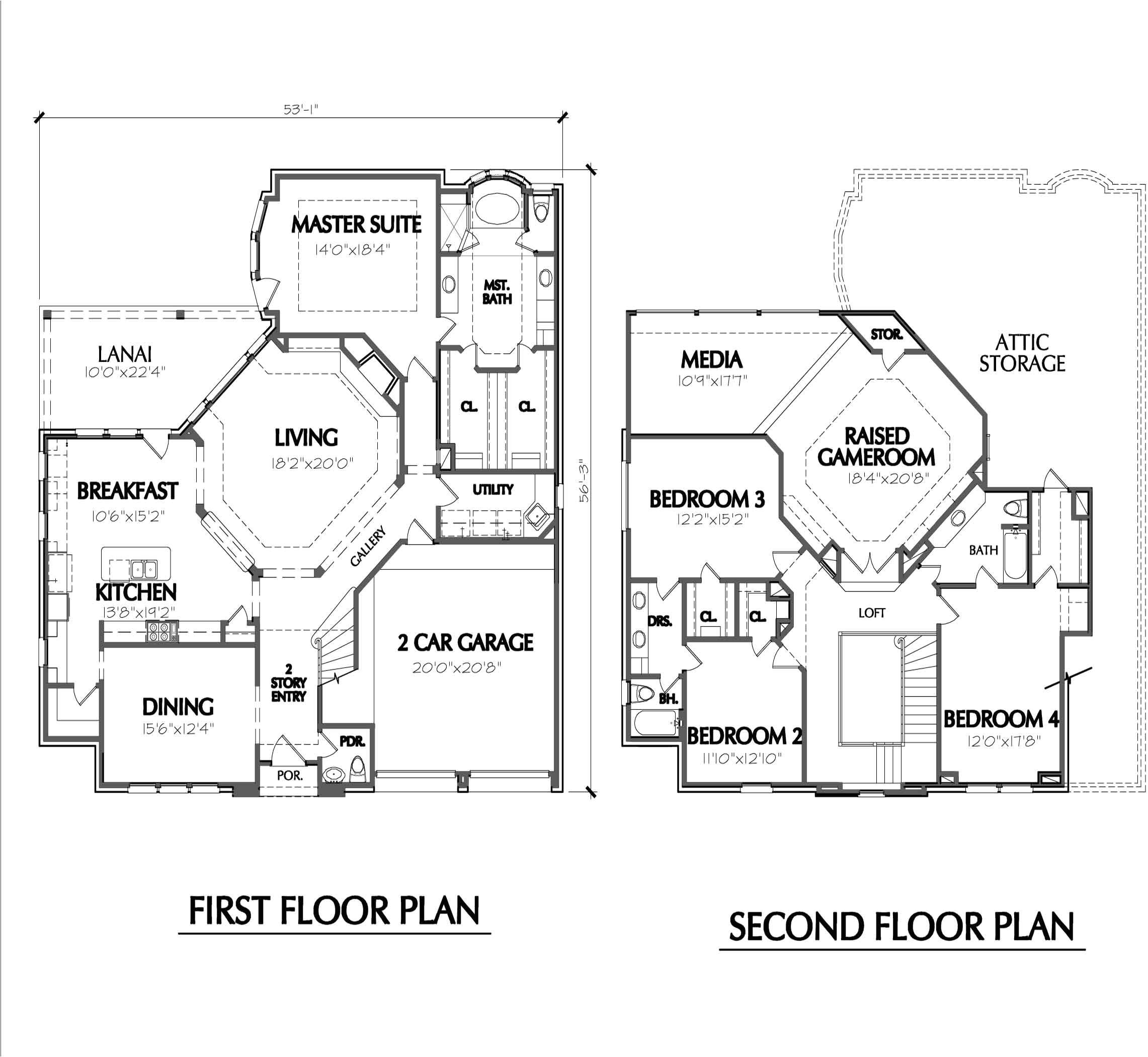 Floor Plans for Homes Two Story House Plans Two Story Smalltowndjs Com