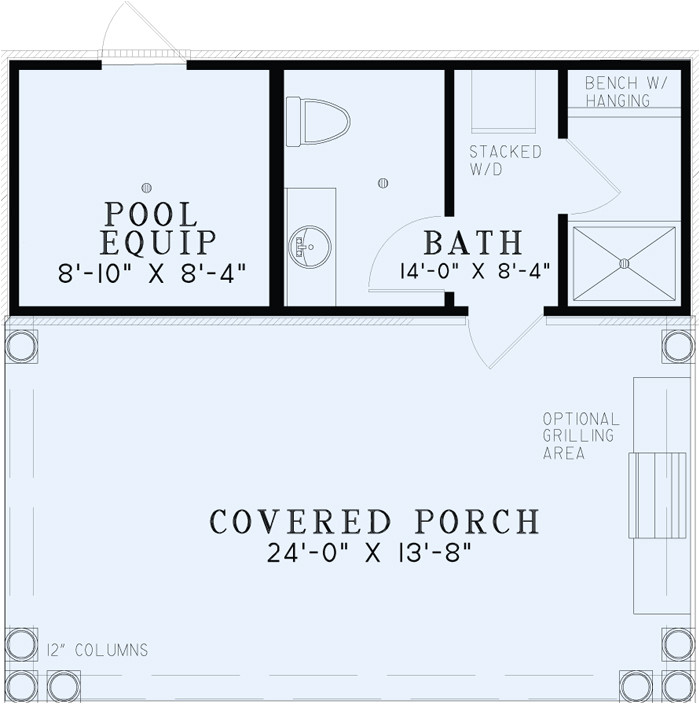 Floor Plans for Homes with Pools Poolhouse Plans 1495 Poolhouse Plan with Bathroom