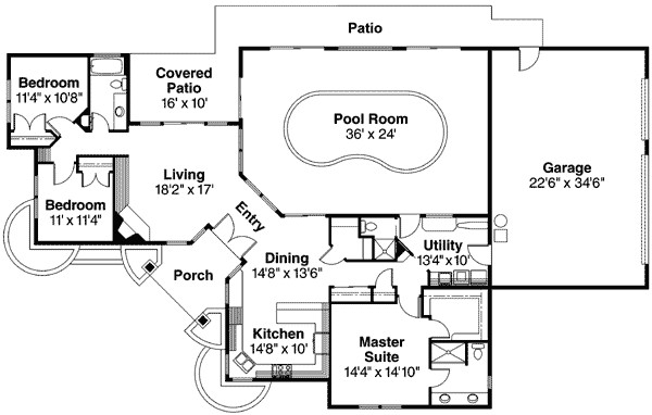 striking home plan with indoor pool 72402da