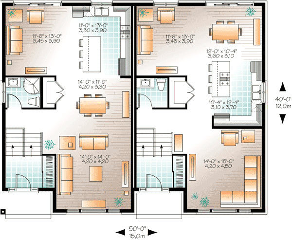 contemporary semi detached multi family house plan 22329dr