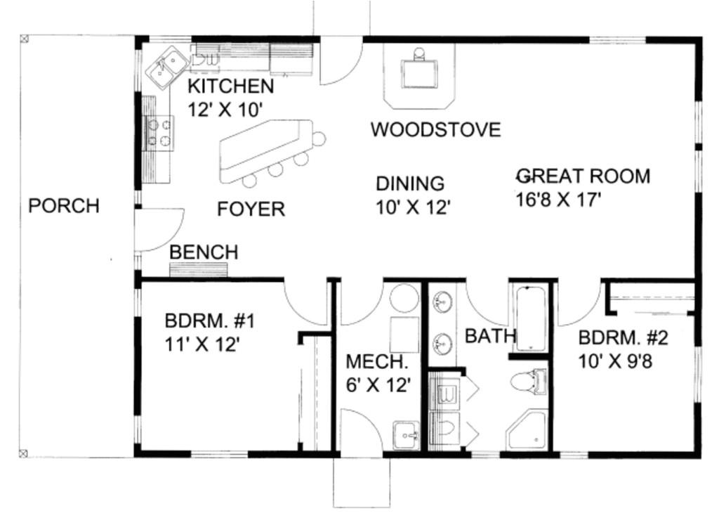 1200 square feet 2 bedrooms 1 bathroom northwest house plans 0 garage 36338