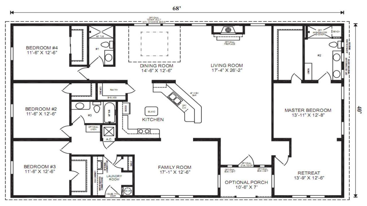 single wide mobile home floor plans 3 bedroom