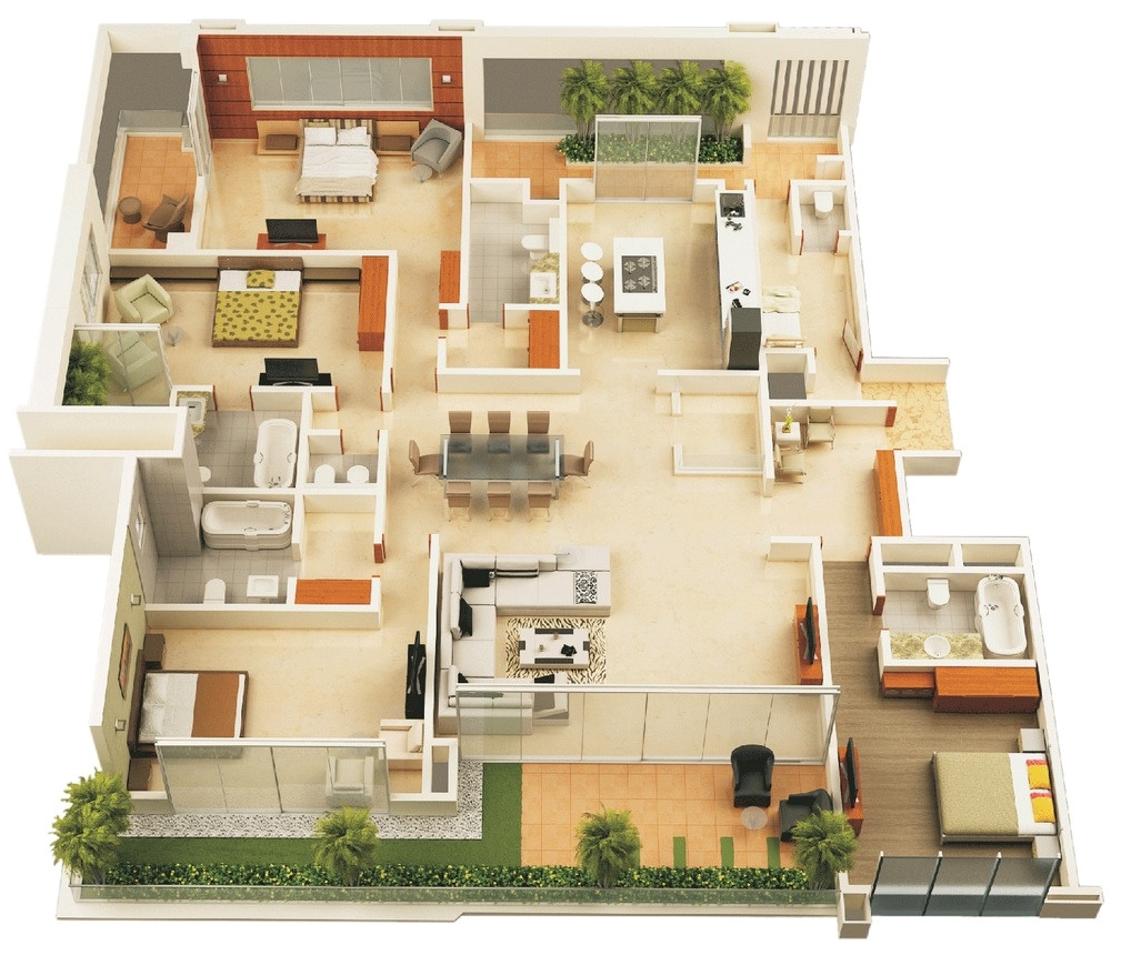 Four Bedroom Home Plans 4 Bedroom Apartment House Plans