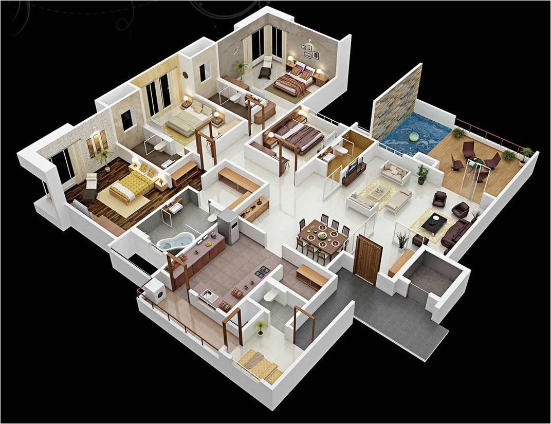 50 four 4 bedroom apartmenthouse plans