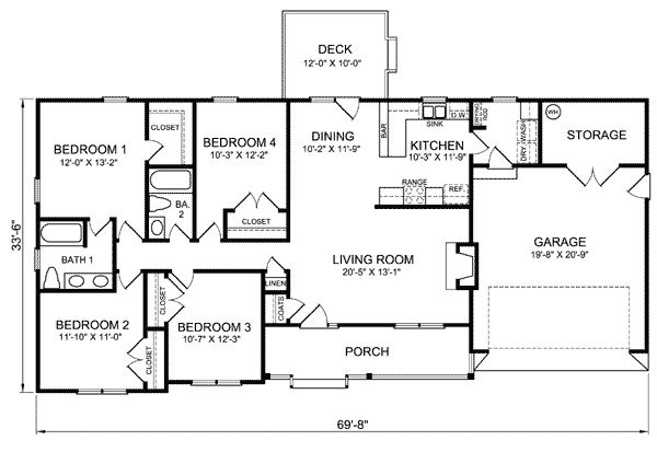four bedroom ranch house plans