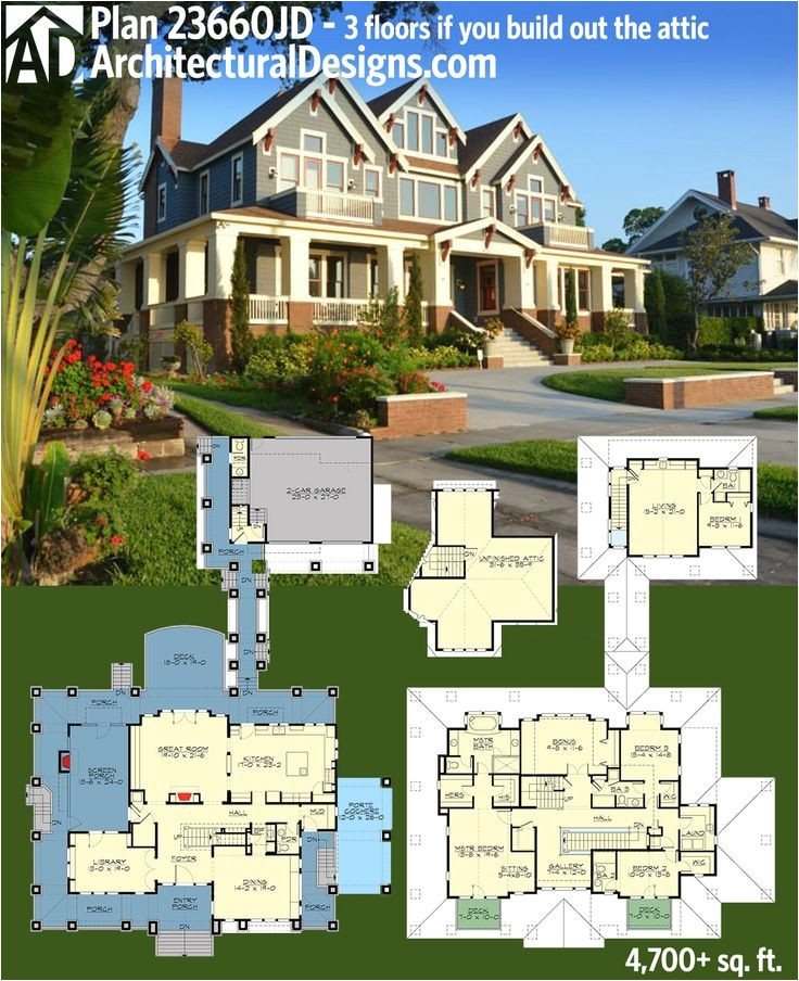four square house plans with attached garage