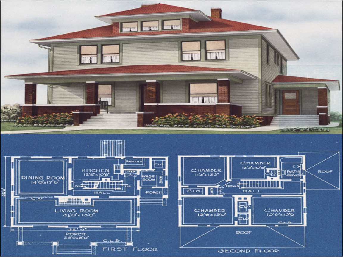 dream of modern american foursquare house plans
