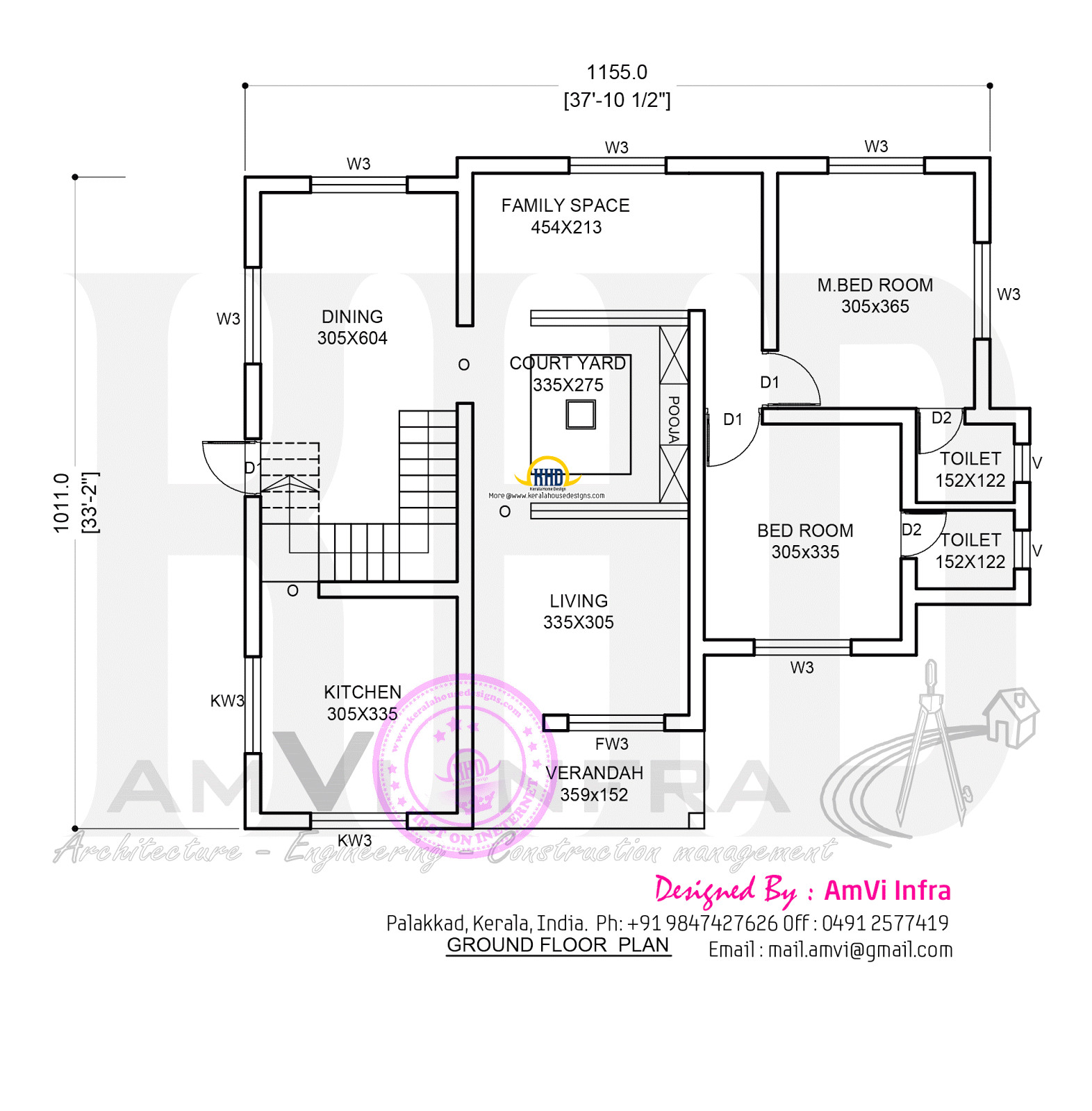 free kerala home with floor plan