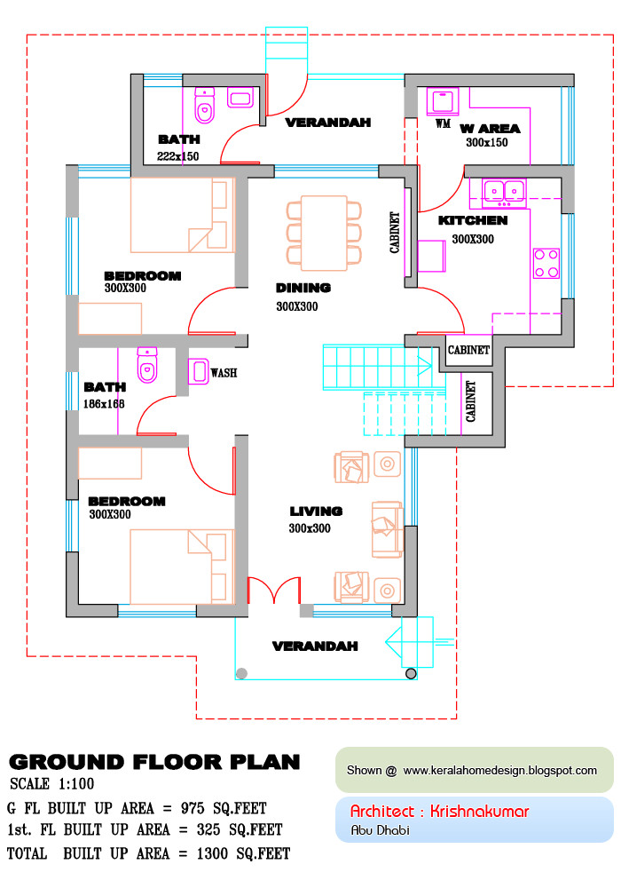 kerala home plan and elevation 1300 sq
