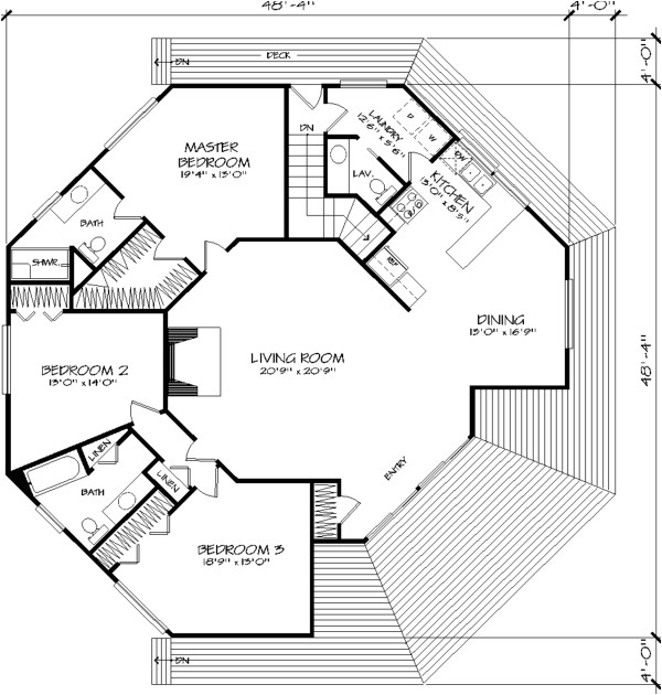 Free Octagon Home Plans the Octagon 1371 3 Bedrooms and 2 Baths the House