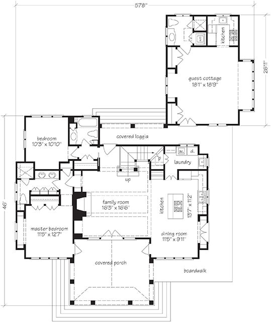 house plans with attached guest quarters