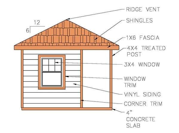 hip roof shed plans blueprints cabana style 5