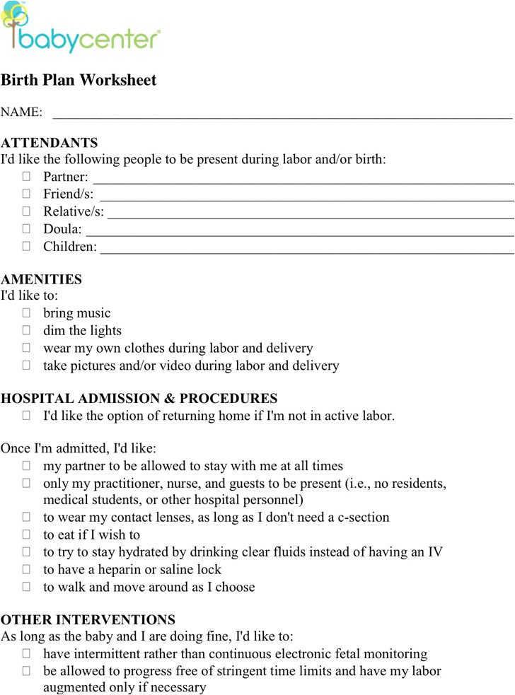 birth plan worksheet