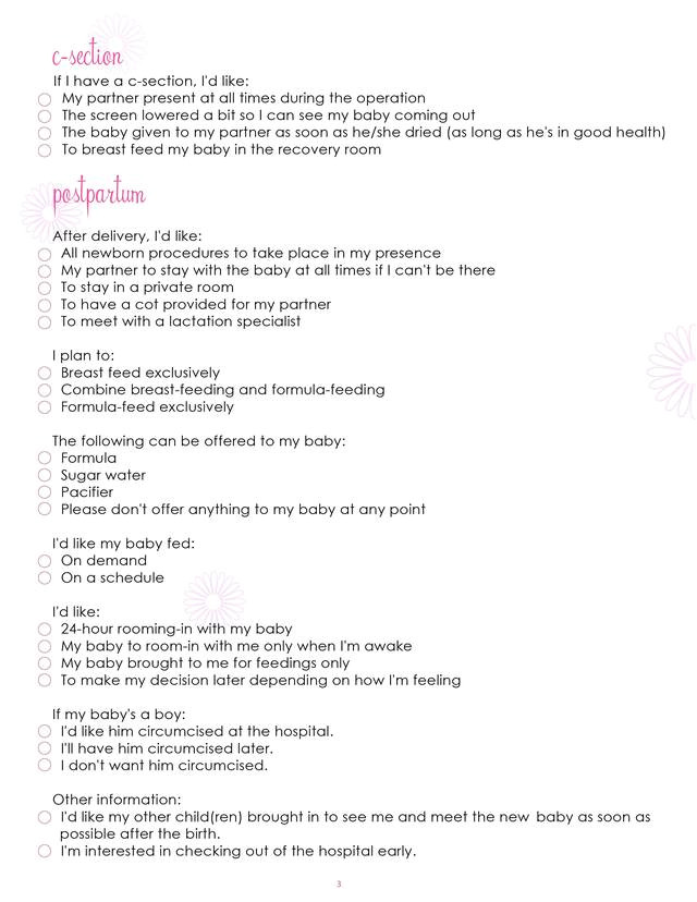 birth plan worksheet page 3