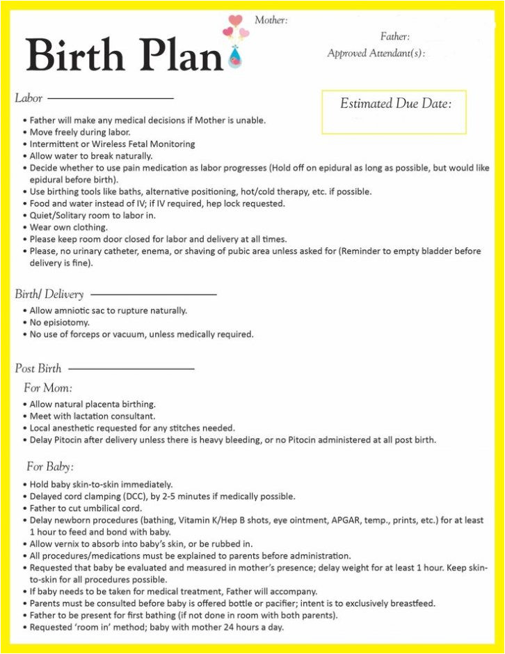 sample birth plan form template worksheet