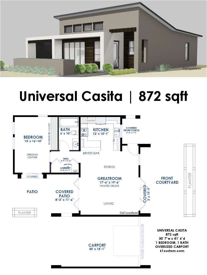 Home Design and Plans Universal Casita House Plan 61custom Contemporary