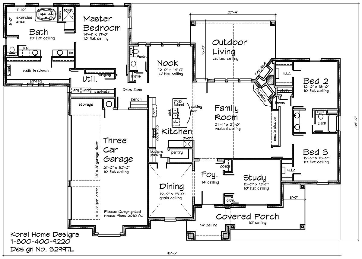 Home Design Plan Country Home Design S2997l Texas House Plans Over 700
