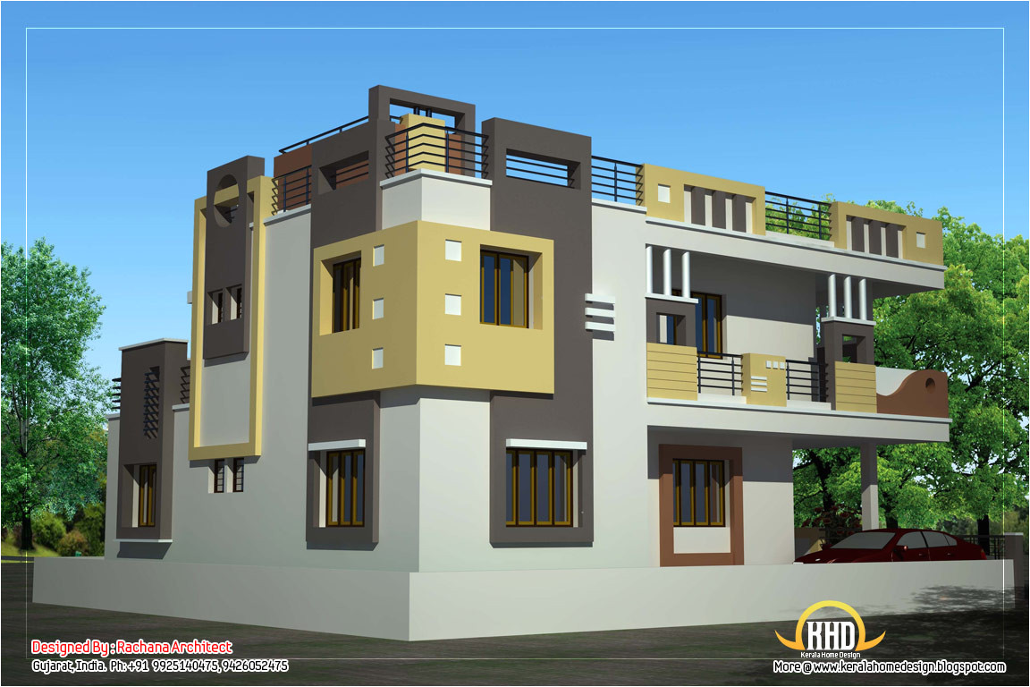 duplex house plan and elevation 2878 sq
