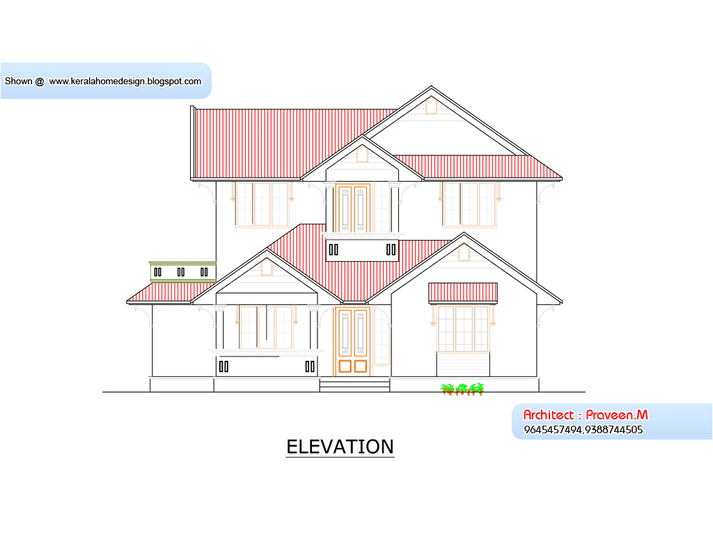 kerala home plan and elevation 1800 sq