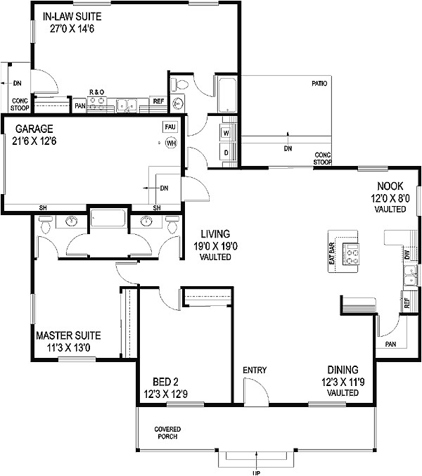 house plan with in law suite 77364ld