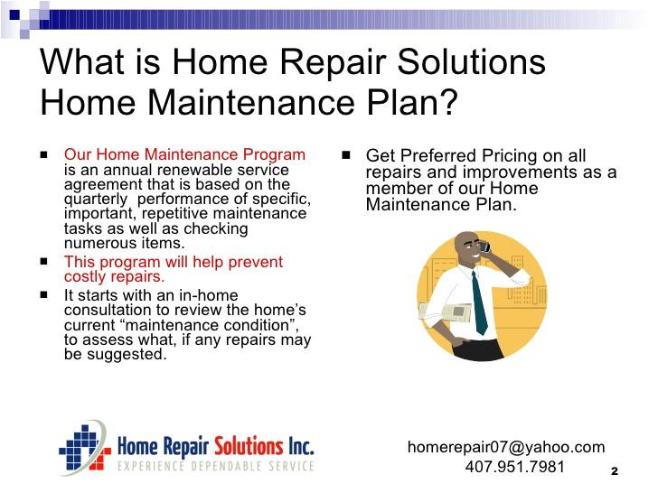 Home Maintenance Service Plans Home Maintenance Plan