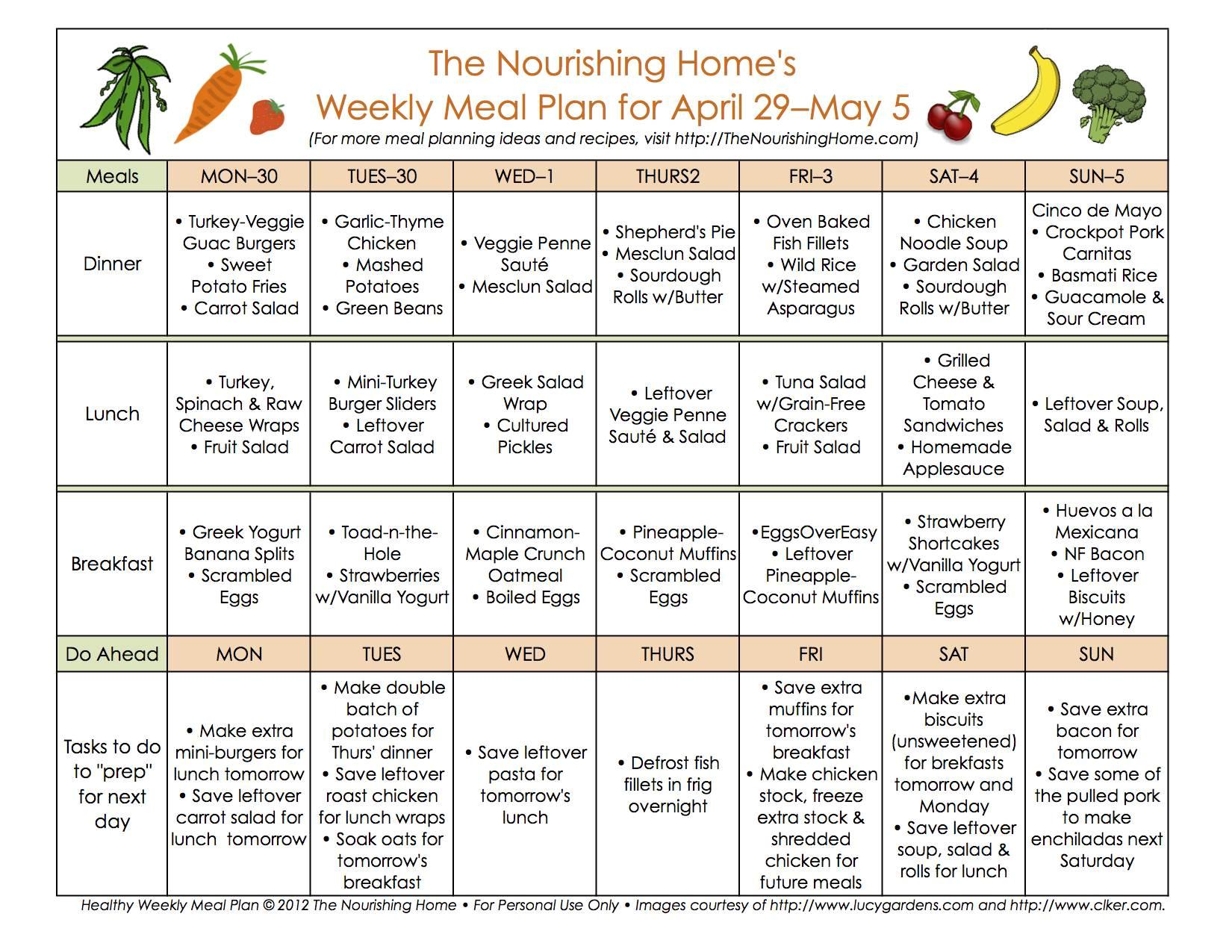 meal plan monday april 29 may 12