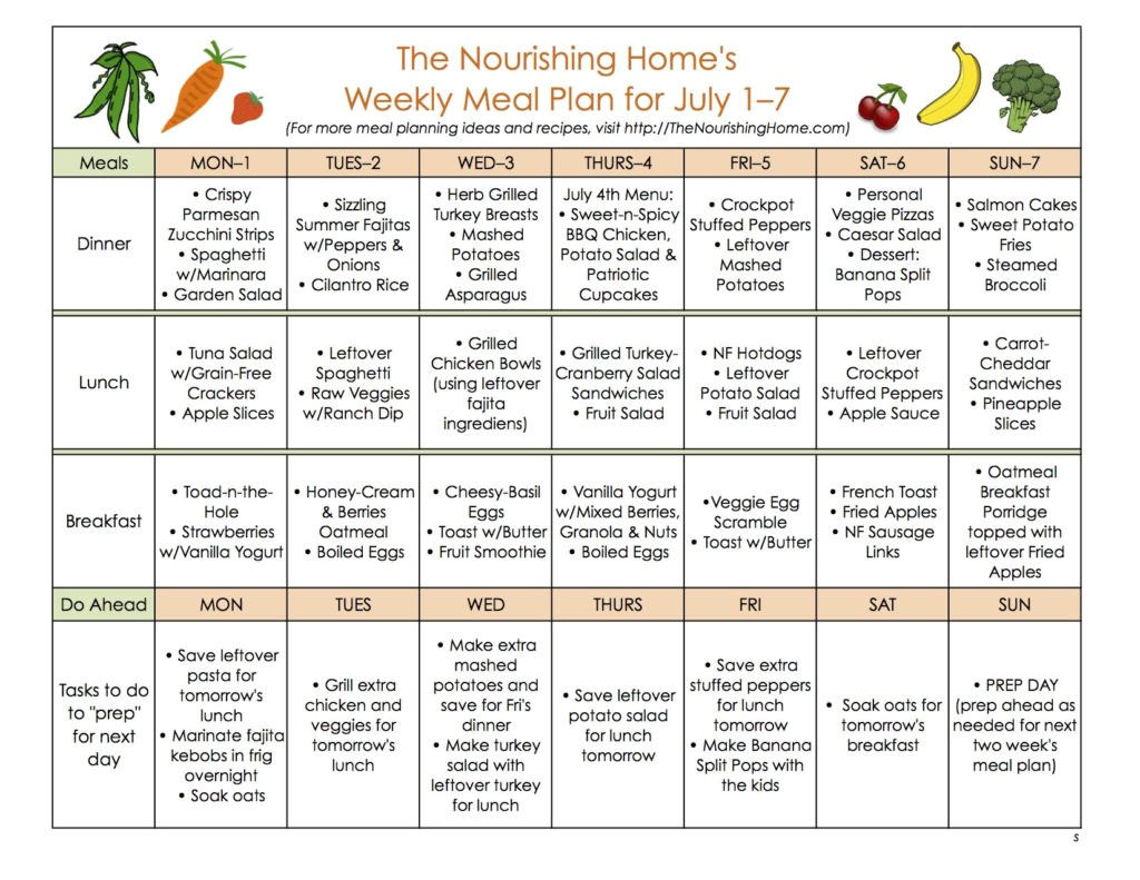 meal plan monday june 24 july 7